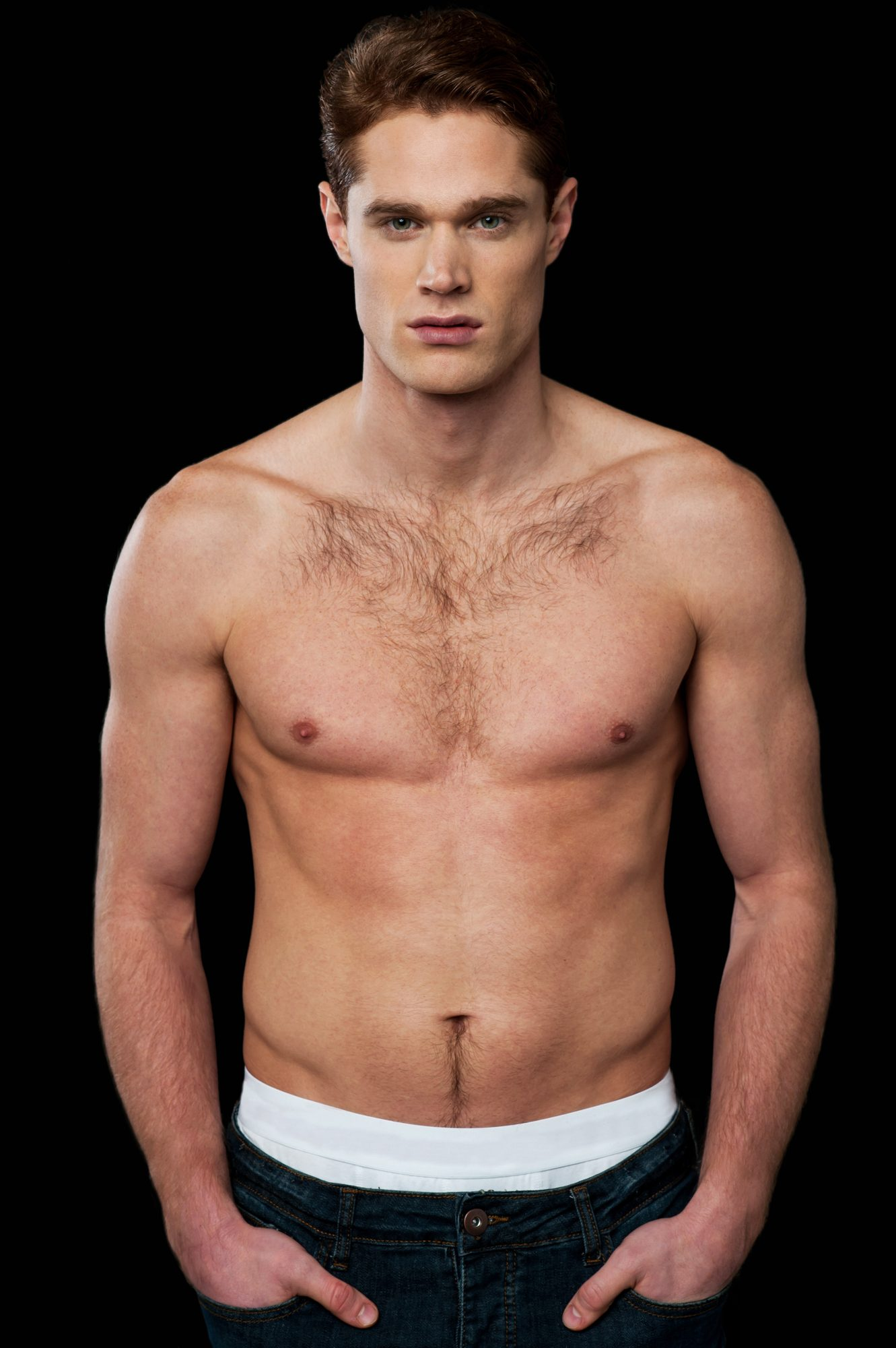 Shirtless male model with muscular body